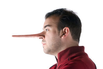 Image of a dishonest man whose nose has grown long because he lied